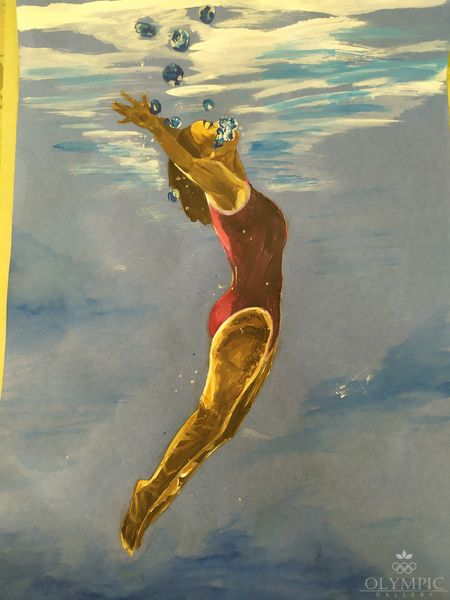 Прыжки в воду, Гуцева Надя, 12 лет, Изостудия Акварелька ЦДОДИМ Ветразь, г.Минск