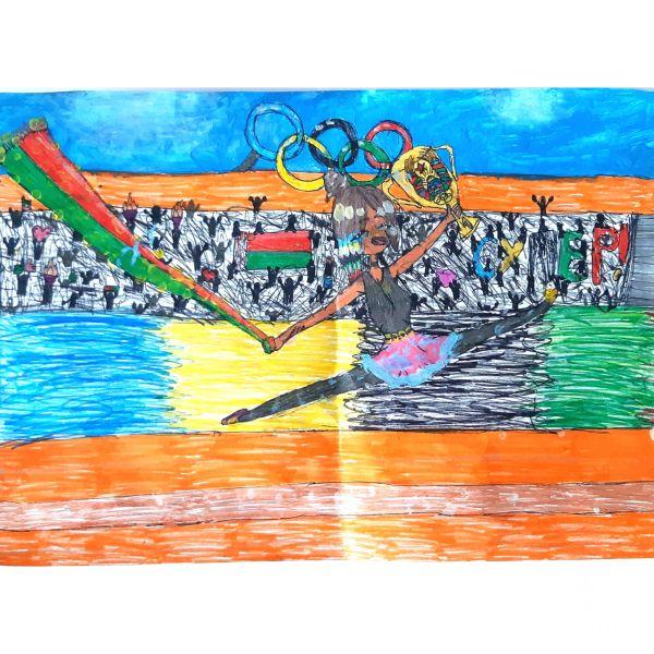 Летящая над стадионом, Cамусева Александра, 10 лет, ГУО СШ№ 37, г. Могилёв